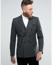 Asos Skinny Double Breasted Blazer In Gray Herringbone With Watch Chain