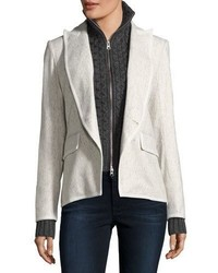 Veronica Beard Forest Cutaway Tonal Herringbone Wool Blend Blazer