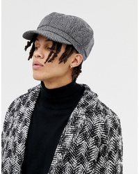 ASOS DESIGN Baker Boy Hat In Oversized Black Herringbone