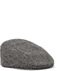 Lock & Co Hatters Glen Herringbone Wool Tweed Flat Cap