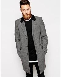 Asos Brand Wool Overcoat In Houndstooth