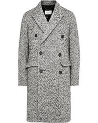 Sandro Double Breasted Herringbone Wool Blend Overcoat