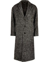 River Island Grey Herringbone Wool Blend Overcoat