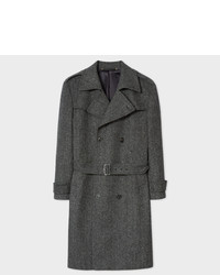 Paul Smith Grey Herringbone Wool Cashmere Double Breasted Belted Overcoat