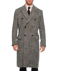 Dolce & Gabbana Herringbone Double Breasted Overcoat Blackwhite