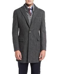 Neiman Marcus Herringbone Single Breasted Topcoat Gray
