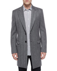 Maison Margiela Herringbone Wool Long Coat Gray