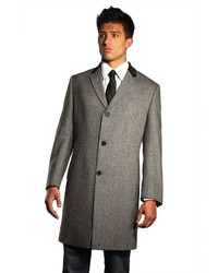 Jean Paul Germain 45 Inch Herringbone Wool Blend Chesterfield Overcoat