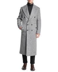 Michael Kors Michl Kors Herringbone Double Breasted Wool Coat Ash Melange