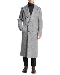 Michl kors herringbone double breasted wool coat ash melange medium 791439