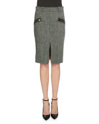 Grey Herringbone Pencil Skirt