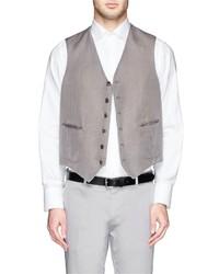 Boglioli Cotton Linen Herringbone Waistcoat