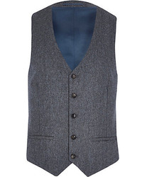 Grey herringbone wool blend vest medium 153731