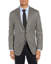 Hickey Freeman Classic Fit Herringbone Wool Cashmere Sport Coat