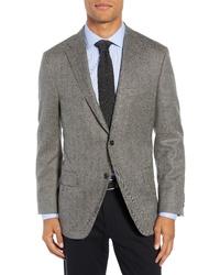 Hickey Freeman Classic Fit Herringbone Wool Cashmere Sport Coat