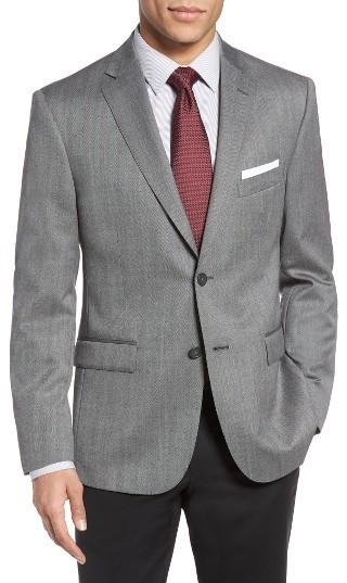JB Britches Classic Fit Herringbone Wool Sport Coat