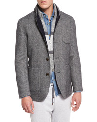 Brunello Cucinelli Double Face Wool Blend Blazer Medium Graycobalt