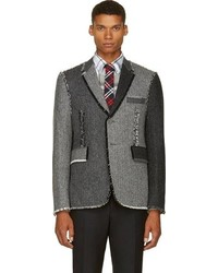 Thom Browne Grey Herringbone Frayed Fun Mix Blazer