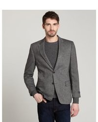 Tommy Hilfiger Grey Herringbone Wool Blend Ethan Two Button Blazer