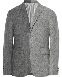 Thom Browne Grey Slim Fit Herringbone Wool Tweed Suit Jacket
