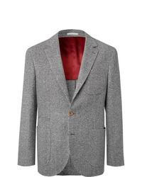 Brunello Cucinelli Grey Unstructured Herringbone Wool And Cashmere Blend Blazer