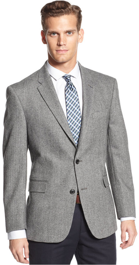 Tommy Hilfiger Wool Blend Herringbone Trim Fit Sport Coat | Where ...