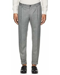 Brunello Cucinelli Herringbone Wool Pleated Front Trousers