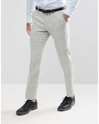 Asos Slim Suit Pants In 100% Wool Harris Tweed Herringbone In Light Gray