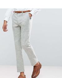 Asos Tall Slim Suit Pants In 100% Wool Harris Tweed Herringbone In Light Gray