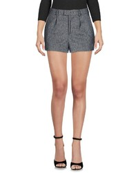 Grey Herringbone Wool Shorts