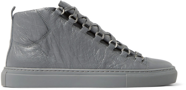 Arena Creased-leather High-top Sneakers Balenciaga