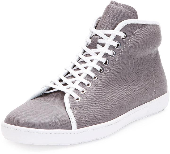 $625, Giorgio Armani New Leather High Top Tennis Sneaker Gray