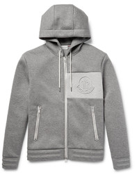 Moncler Bonded Cotton Jersey Zip Up Hoodie
