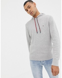 Tommy Hilfiger Cotton Mesh Textured Knit Hoodie Icon Logo In Grey Marl