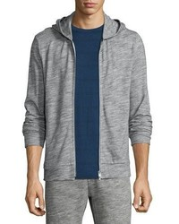 Theory Danen Front Zip Terry Hoodie Dark Heather