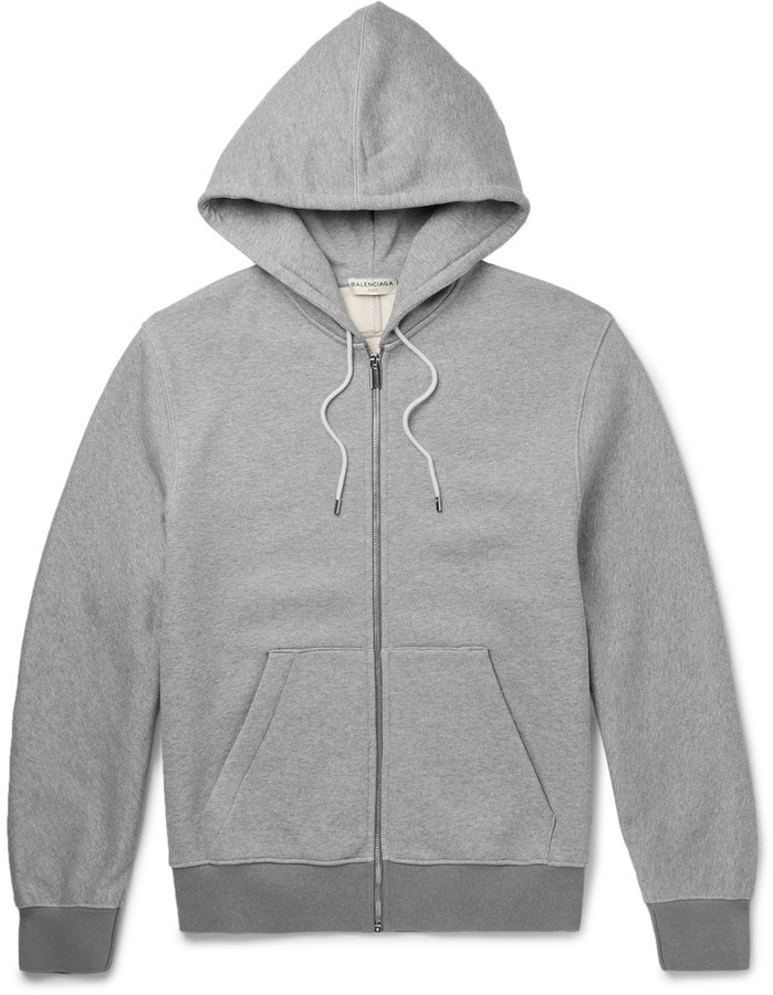 sale retailer 76383 da035 $695, Balenciaga Fleece Back Cotton Jersey Zip Up Hoodie