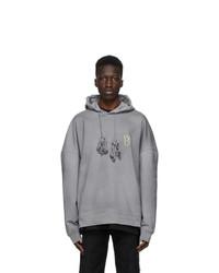 We11done Grey Pearl Logo Hoodie