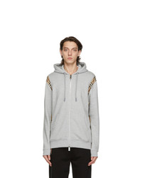 Burberry Grey Vintage Check Panel Zip Up Hoodie