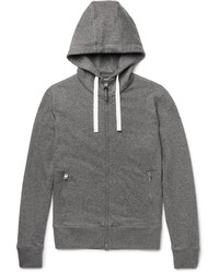 Tom Ford Leather Trimmed Mlange Cashmere And Cotton Blend Zip Up Hoodie