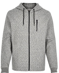 River Island Light Grey Marl Zip Through Hoodie