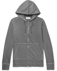 Officine Generale Loopback Cotton Jersey Zip Up Hoodie