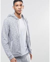 Hugo Boss Lounge Zip Up Hoodie In Marl Regular Fit