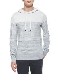 Vince Mini Stripe Long Sleeve Hoodie Whitegray
