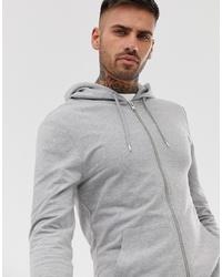 ASOS DESIGN Muscle Zip Up Hoodie In Grey Marl Marl