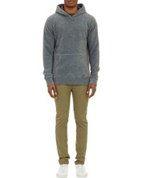 Barneys New York Reverse Fleece Hoodie Sweatshirt Grey