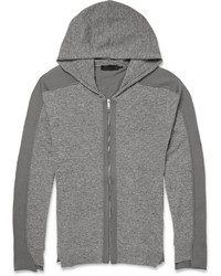 Alexander McQueen Two Tone Wool Zip Up Hoodie
