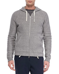 Vince Fleece Zip Front Hoodie Grey