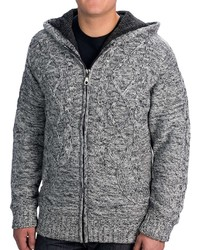 Visitor Hooded Cable Cardigan Sweater Sherpa Lining