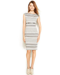 Calvin Klein Cap Sleeve Belted Striped Sheath