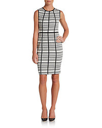Striped panel detailed sheath dress medium 75034